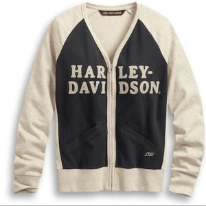 Harley Davidson Chain Stitch Colourblock Cardigan